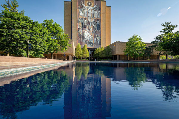 Hesburgh Library and reflection pond